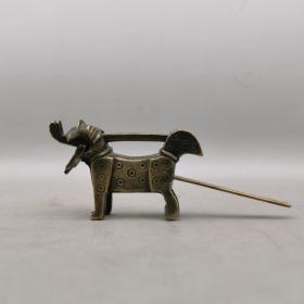 清代黄铜狗锁老铜锁动物锁异型锁