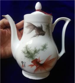 1983年印花贴花栩栩如生鱼藻图金鱼戏水图茶壶中国淄博包老包真全品