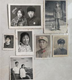 特价处理原版老照片相片7张共58元69年结婚纪念照片带毛主席像章包老包真