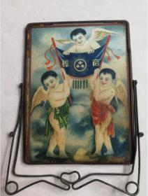 特价处理民国带三个天使童子图商标的镜子包老少见品种