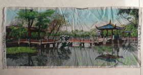 特价处理五六十年代中国杭州都锦生丝织厂制西湖三潭印月九曲桥图包老