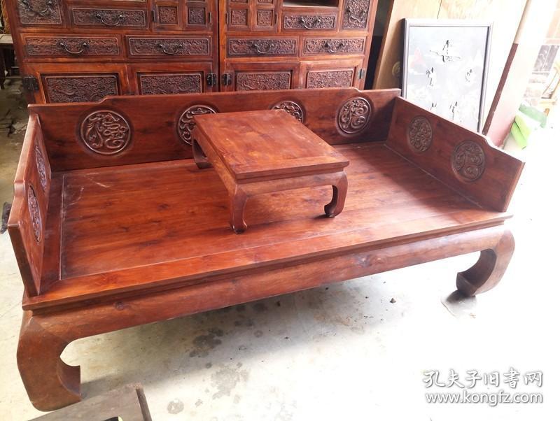 古董木艺老家具清代黄花梨罗汉床