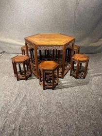 古董古玩黄花梨老家具明清家具木器木艺海南黄花梨六角桌