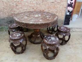 明清老家具酸枝圆桌木器古董家具老圆桌