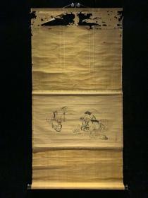 【日本回流字画】狩野良信三神像 幕府时期 玄关装饰收藏书画