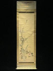 日本回流字画民国白梅图3790书法作品茶挂收藏真迹书画