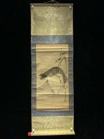 【日本回流字画】清中期狩野养信 白鹭图3349 玄关装饰收藏书画