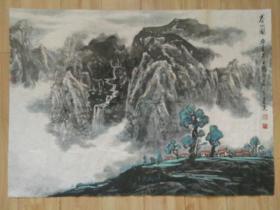 """旅汉襄阳籍山水画家安忠国画精品一件""""春山图"""",包快递发货。"""