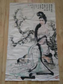 朱文彬国画花好月圆美女图一件,品见描述包快递发货。