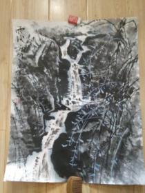 """罗潘国画代表作""""雨后"""",中国美术馆参展作品,品好包快递发货。"""