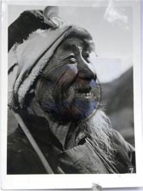"""山西省摄影家协会会员参赛作品""""大白胡子吕梁山老农民""""照(80年代)"""