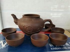 无盖紫砂壶+6个小茶杯
