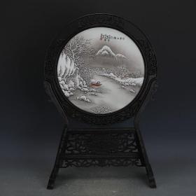 民国粉彩手绘雪景图瓷板画插屏