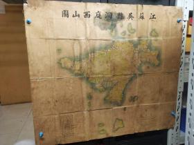 民国早期江苏苏州吴县洞庭西山图,尺寸88X78,【架】