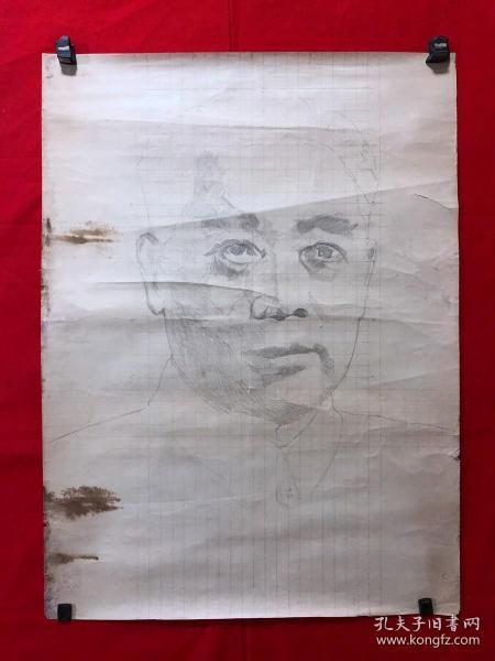 书画13618,素描画,人物,尺寸约为77*53厘米