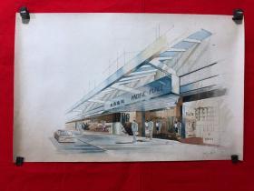 书画13620,【王希】水彩画,建筑设计,尺寸约为64*41厘米