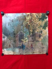 书画13586,水彩画,风景,尺寸约为43*39厘米