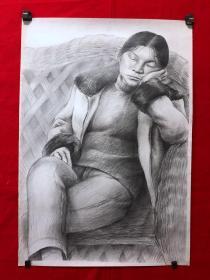 书画13598,素描画,人物,全开,尺寸约为78*54厘米