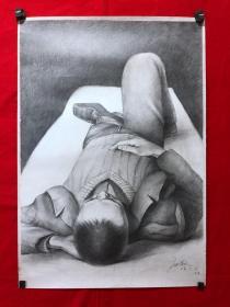 书画13599,【庞君薇】素描画,人物,全开,尺寸约为78*54厘米