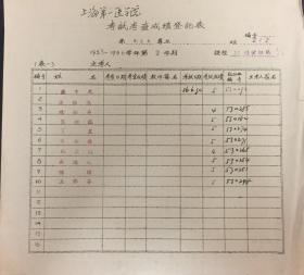 《1955-1956学年第2学期上海第一医学院卫生系专业保健组织学考试考查成绩登记表》(和库)