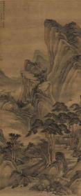 清 章谷 携琴游山图