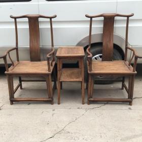 传世老货清代早期木艺木雕黄花梨官帽椅一对