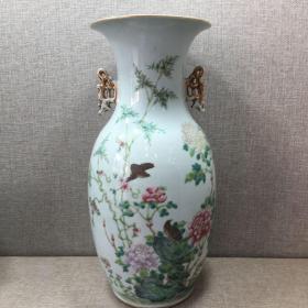 民国收藏粉彩双耳花鸟瓶一件