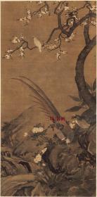 清 尤萃 花鸟珍禽图 杏花双雉图 66x133.6cm 绢本  1:1国画复制品 名画复制