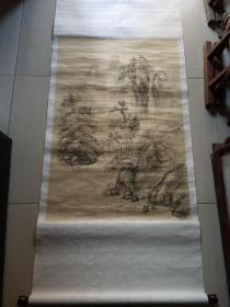 晚清民国手绘绢本无款山水人物中堂。88/54