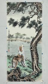 """单文质 尺寸 112/50 托片 (1914-1990),北京人,族名单士彬,字文质,号莲西居士,我国已故著名书画家,曾供职于故宫博物院,书法绘画俱佳,尤以师从于苏楚白先生的工笔走兽技法最为擅长。目前,苏派工笔走兽画法在我国已成绝响。单文质先生的作品曾在1990年亚运会展出,并多次入选国际书画展。""""荣宝斋""""为其作品挂单。"""