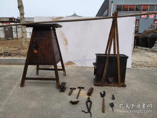 清代,民俗老物件,银匠挑子一套,工具齐全,包浆一流,件件精品,保存完好,还能正常使用,保老
