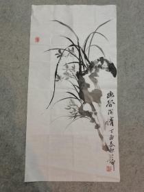 国画水墨兰花 三尺整纸 画心软片原稿手绘真迹 作者不详