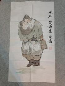 国画 水浒人物笑面虎朱富 原稿手绘真迹 画心软片