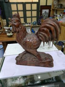 整块本雕成  公鸡,高33