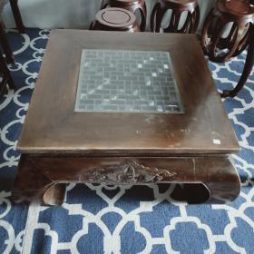 老榆木方桌 香蕉腿设计,桌面带有镂空,用途广泛 104*104*50