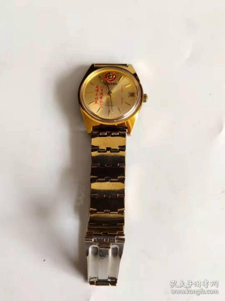 鎏金表盘镶钻,鎏金主席头像,毛主席诞辰100周年纪念1893-1993手动上弦机械带日历手表,完整无损,没上过手,品相一流,正常使用,保老保真。