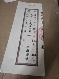 1951年毕业证书存根:上海市私立晓光中学(并入震旦附中,1958年并入上海市向明中学) 庄维良(广东广州人)