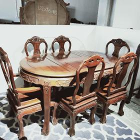 缅甸花梨餐桌五件套 木质密度高,品相完美,装修极品