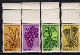 以色列邮票  农作物 水果 4全 全新