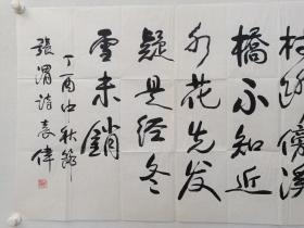 保真书画,中国军事博物馆馆长,著名军事历史学者,国家文博专家,袁伟将军四尺整纸书法《一树寒梅......》一幅70×137cm。