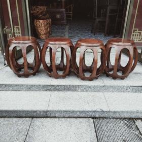 缅甸花梨鼓凳四件套 纹路清晰,有淡淡檀香味道 面长28 高45