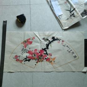 不知名花鸟扇面68x33cm