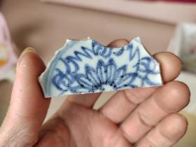 瓷片标本满百包邮,清代太阳花酒杯瓷片标本