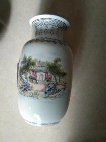 景德镇题诗风景花瓶