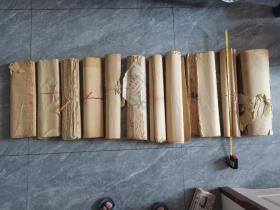 老纸一堆  共11件  纸质上乘  薄厚不一   其中有带杨柳青商标的  尺寸品相请见图