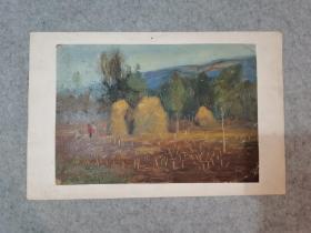 无签名老旧油画 秋 原稿真迹 著名老画家 西安美院高材生作品