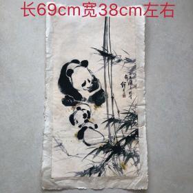 刘继卣国宝大熊猫字画 乡下老物件古玩字画国画收藏 家居中堂挂画