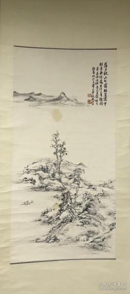 天津美协副主席  尹沧海  早期传统山水  立轴,[尺寸:110*54CM,品相如图]