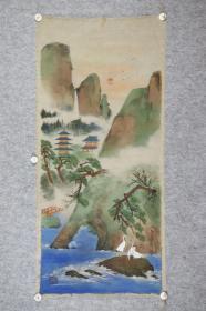 回流字画 回流书画《蓬莱山水》落款:约翰。日本回流字画 日本回流书画