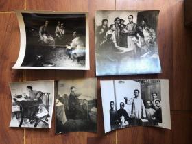 【老照片】革命时期的毛泽东绘画老照片5张 展览用